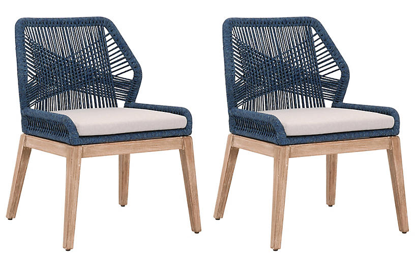 S/2 Easton Side Chairs, Indigo
