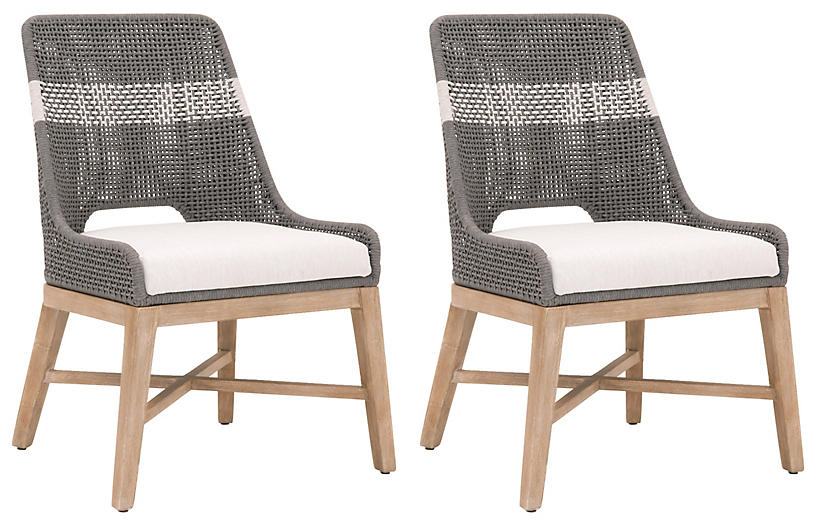 S/2 Arras Side Chairs, Dove/White