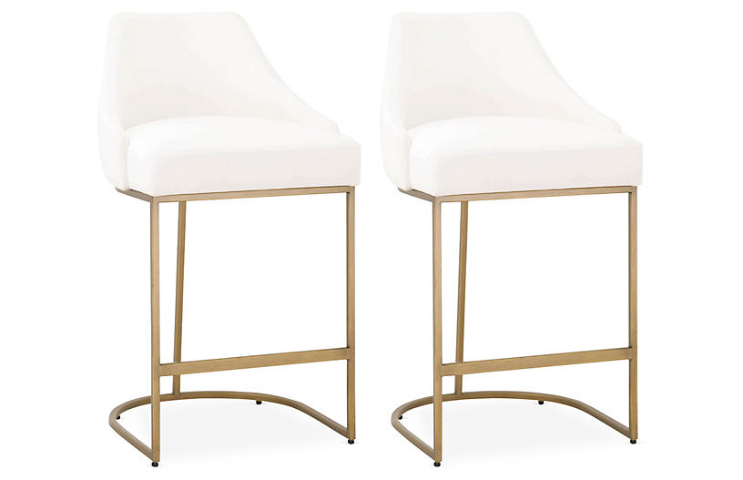 S/2 Performance Lola Counter Stools, Brass/Pearl
