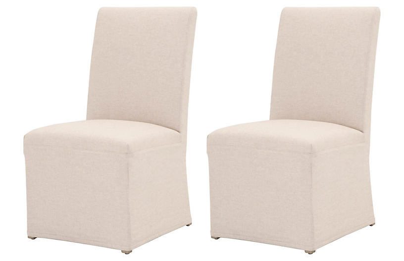 S/2 Leah Slipcover Dining Chair