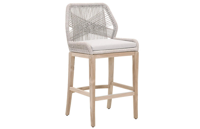 Easton Rope Barstool Taupe Pumice, Orient Express Furniture Loom Counter Stool