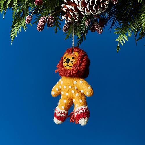 Lion in Socks Ornament, Orange