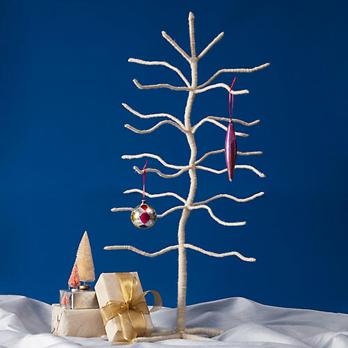 """32"""" Wool Twig Tree Accent, White"""
