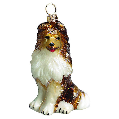 Shetland Sheepdog Ornament, White/Tan