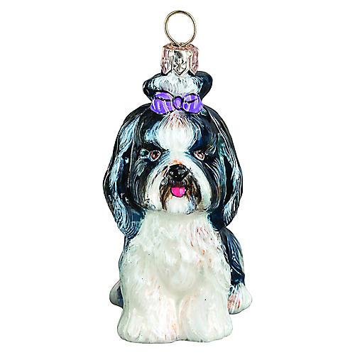 Lily Shih Tzu Ornament, Black/White