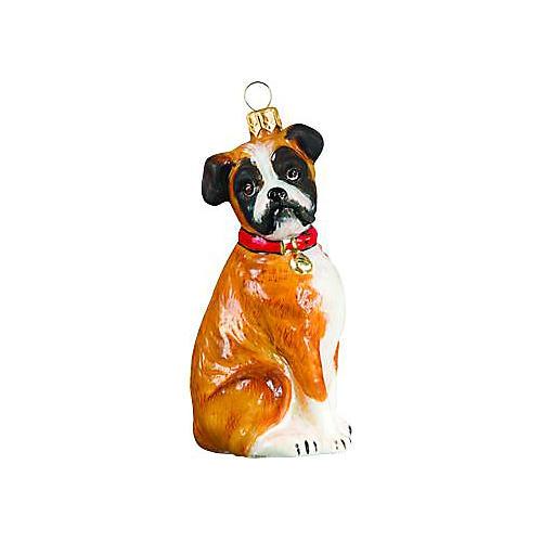 Boxer Ornament, Tan/White