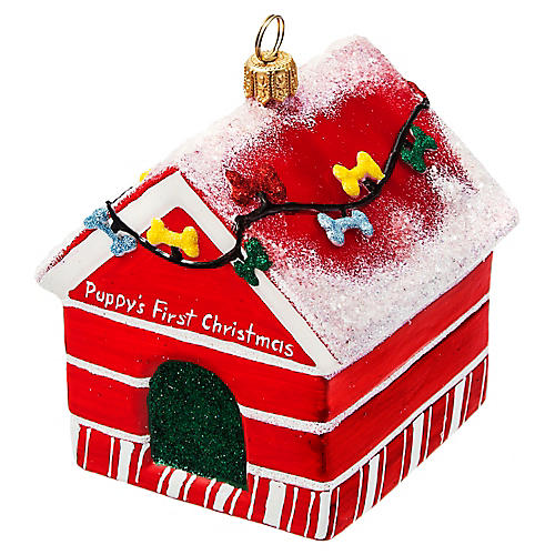 Puppy's First Christmas Dog House Ornament, Red