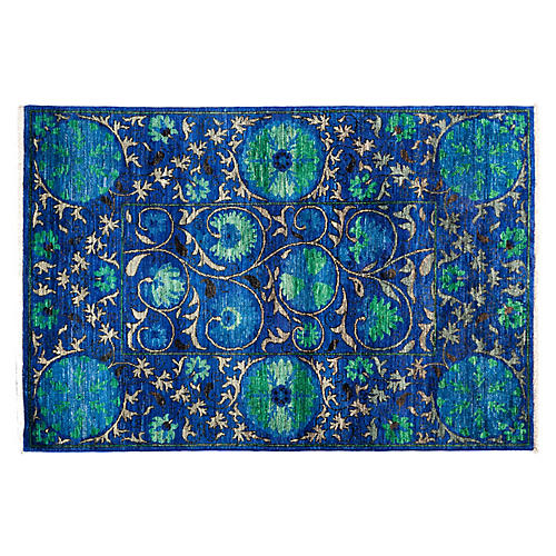 "4'2""x6'1"" Suzani Rug, Royal"
