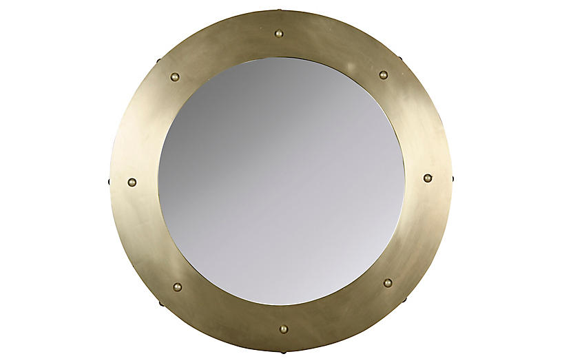 Clay Wall Mirror, Antiqued Brass