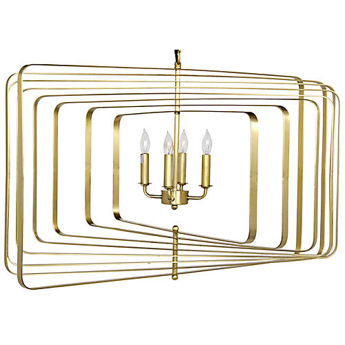 Dimaclema Large Chandelier, Antiqued Brass