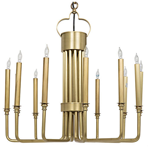 Kooper Chandelier, Antiqued Brass