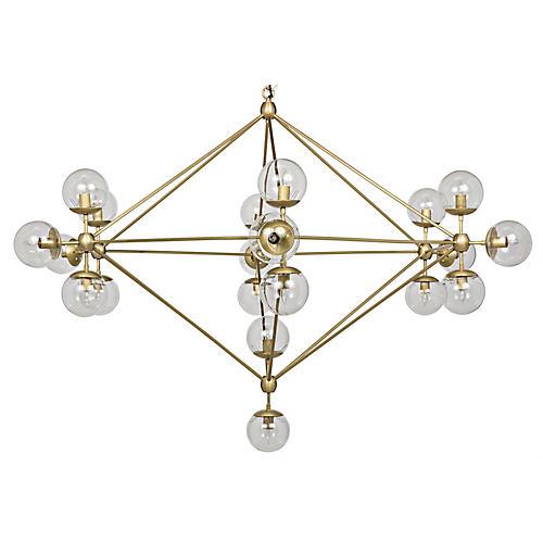 Pluto Chandelier, Antiqued Brass
