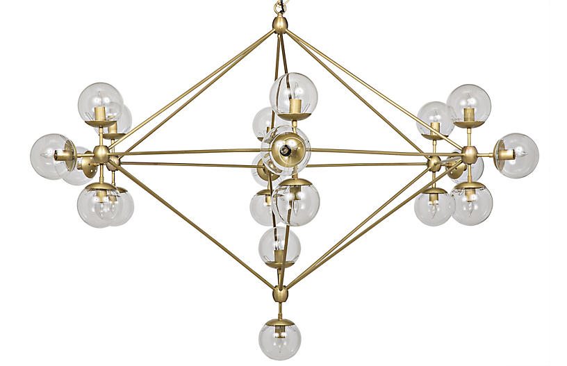 Pluto Chandelier, Antiqued Brass