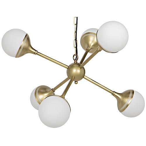 Zoe Sputnik Chandelier, Antiqued Brass