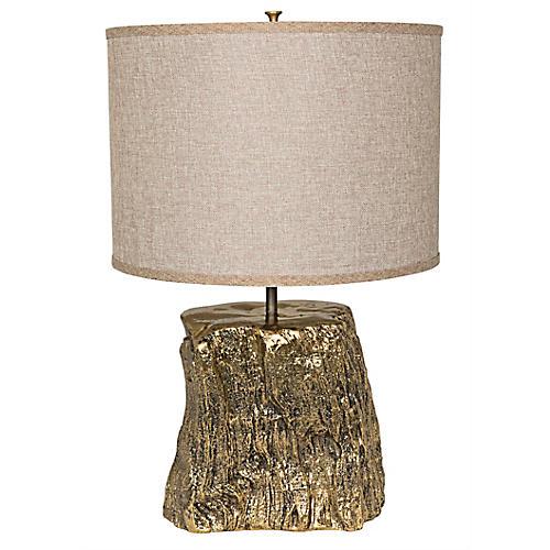 Block Table Lamp, Brass