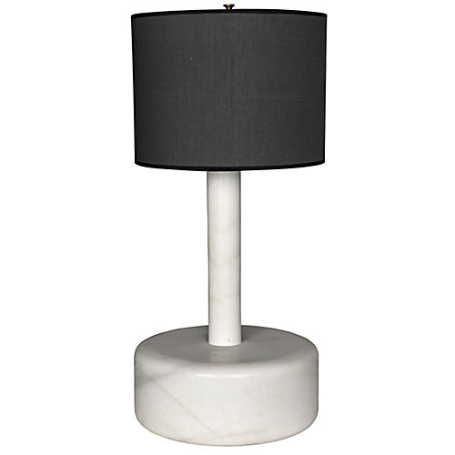 Cylinder Marble Table Lamp, White