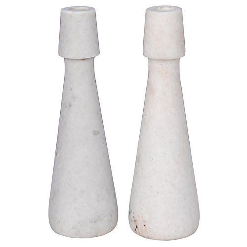 S/2 Mitros Marble Candleholders, White