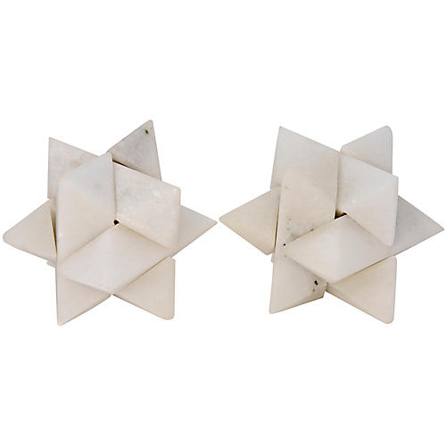S/2 Star Puzzle Objets, White Stone