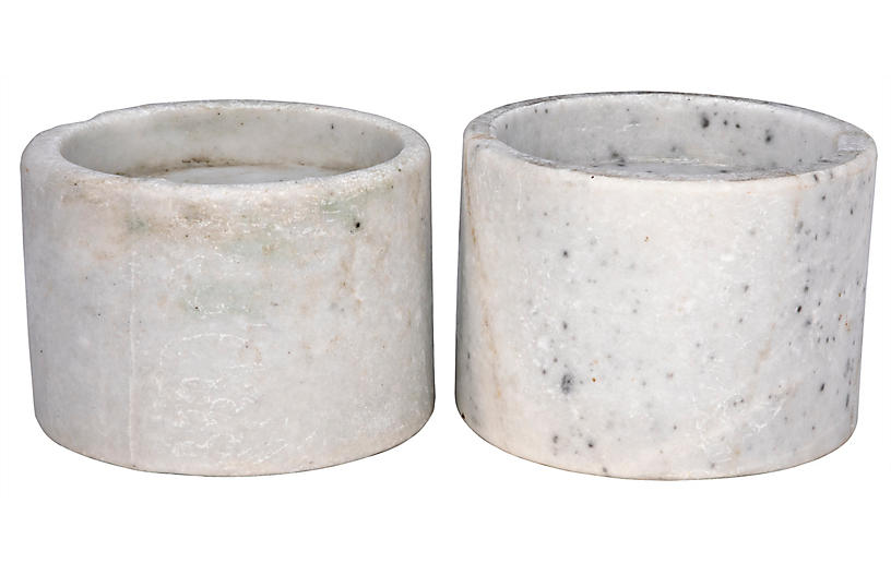S/2 Syma Marble Candleholders, White