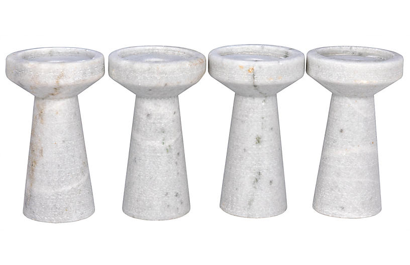 S/4 Aleka Marble Candleholders, White