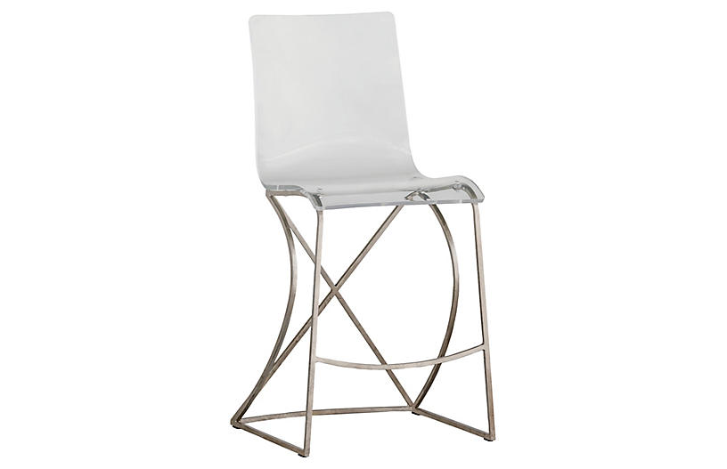 Johnson Counter Stool, Silver/Clear
