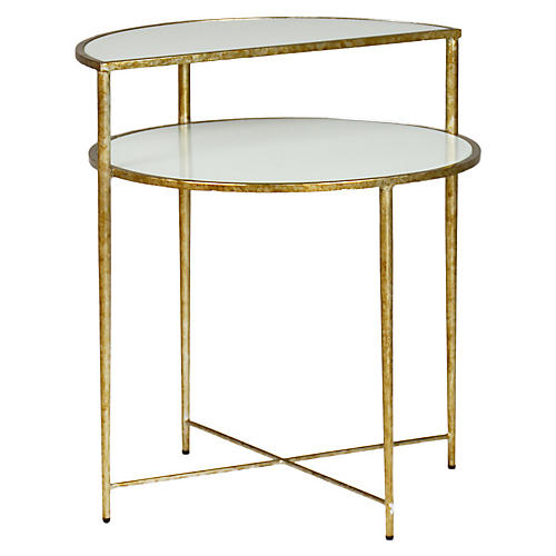 Langdon Side Table, White/Champagne