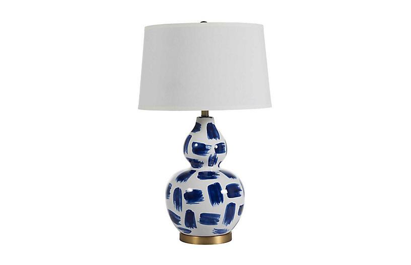 Luca Table Lamp, Blue Brushstroke
