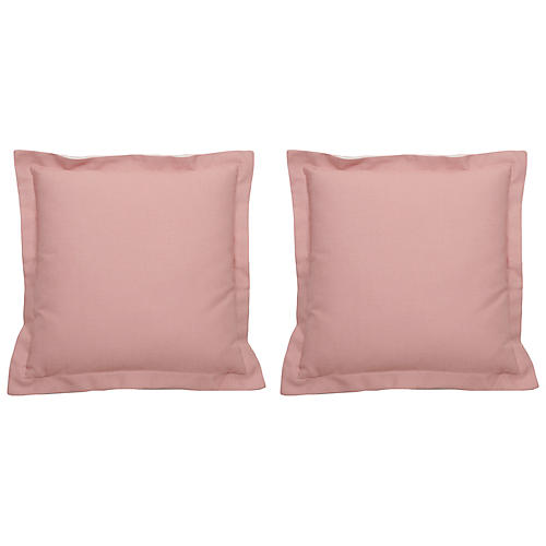 S/2 Premier Double-Flange Outdoor Pillows, Petal