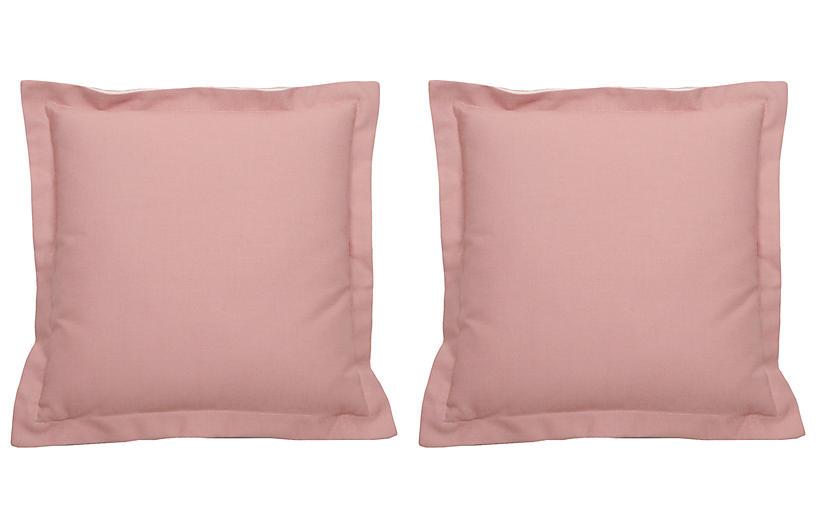 S/2 Premier Double-Flange Outdoor Pillows, Petal