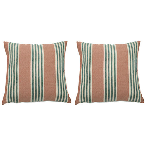 S/2 Bradford Outdoor Pillows, Cajun/Mist