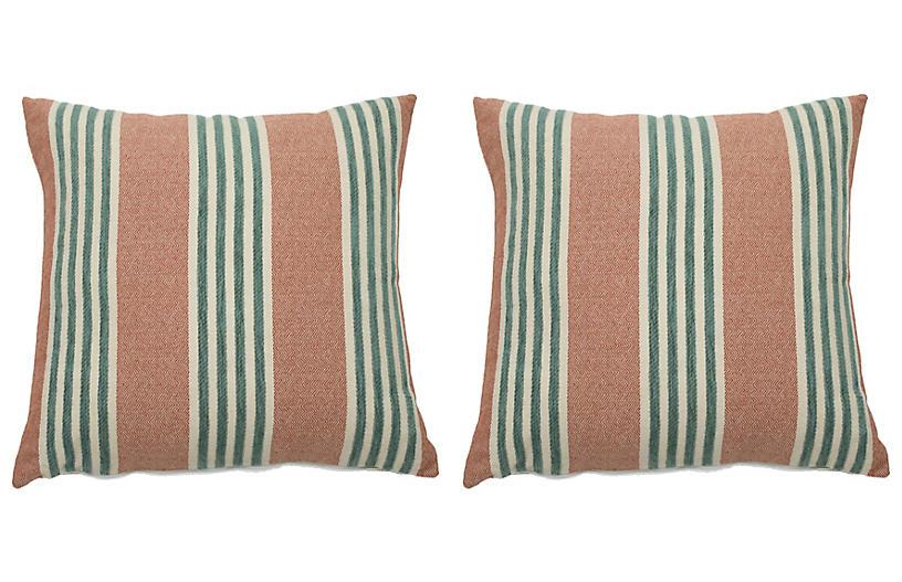 S/2 Bradford Outdoor Pillows, Cajun/Mist