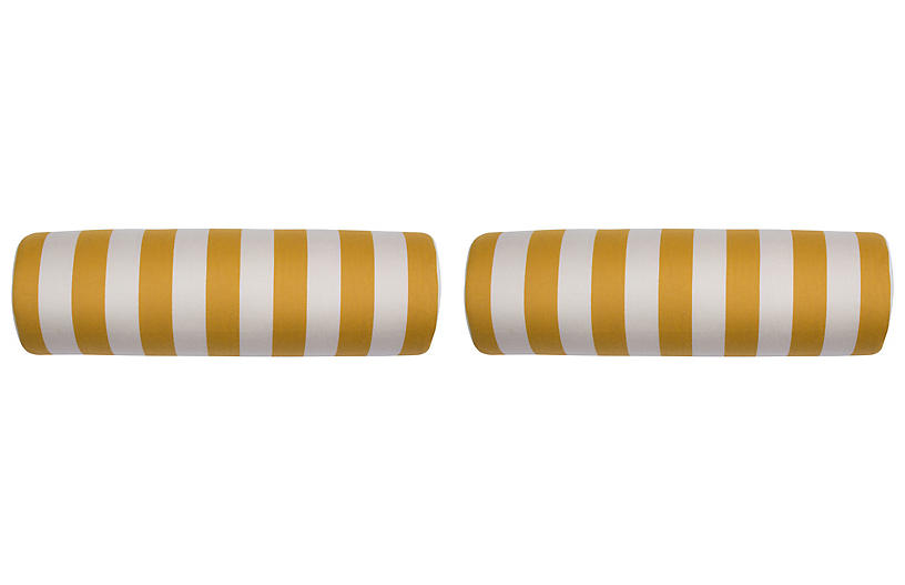 S/2 Halo Outdoor Bolster Pillows, Yellow/White