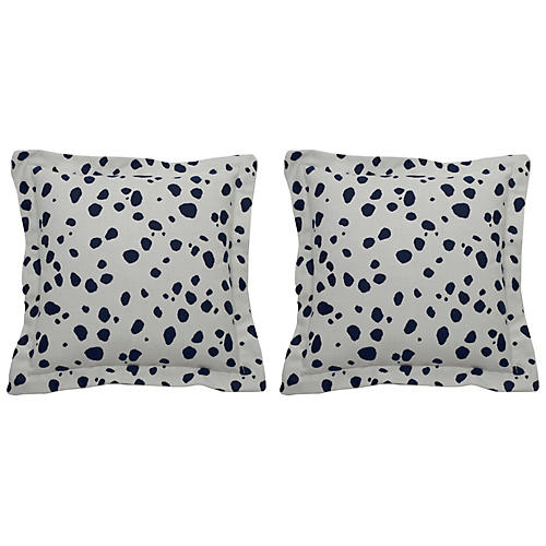 S/2 Spotty Outdoor Pillows, Indigo