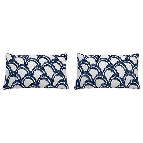 S/2 Alena Outdoor Lumbar Pillows, Indigo
