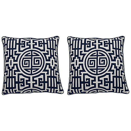 S/2 Nobu Outdoor Pillows, Indigo/White