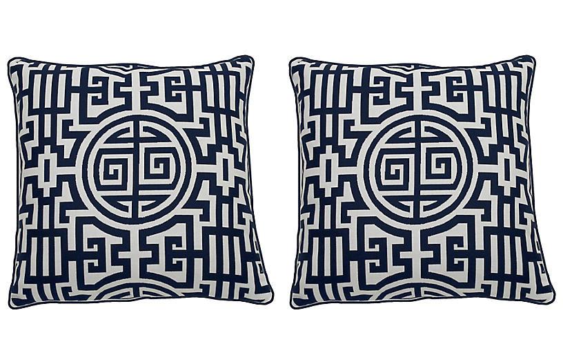 S/2 Nobu Outdoor Pillows, Indigo/White