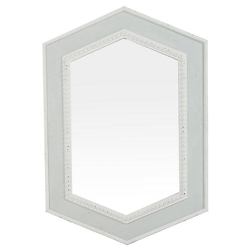 Lorena Wall Mirror, Soft Blue/Antiqued White