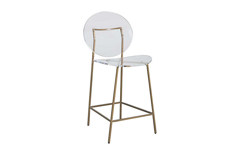 Sandy Acrylic Counter Stool, Gold/Clear