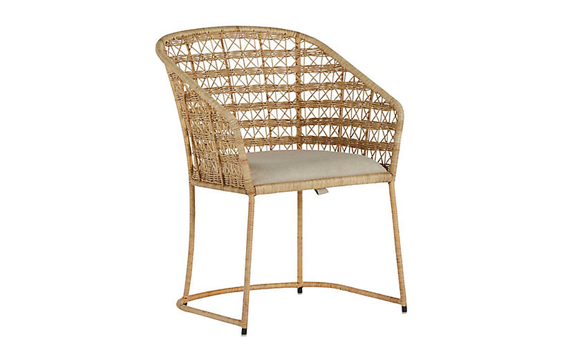 Lambert Dining Chair, Natural Rattan