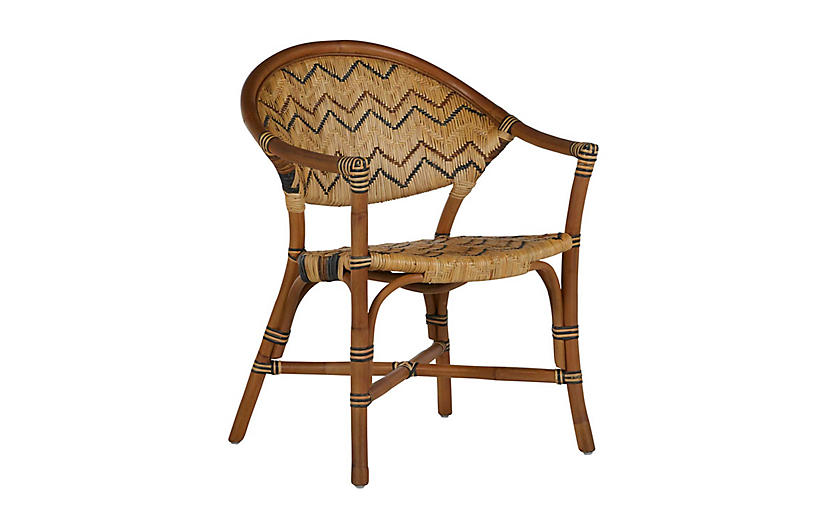 Emmet Dining Chair, Brown/Natural Rattan