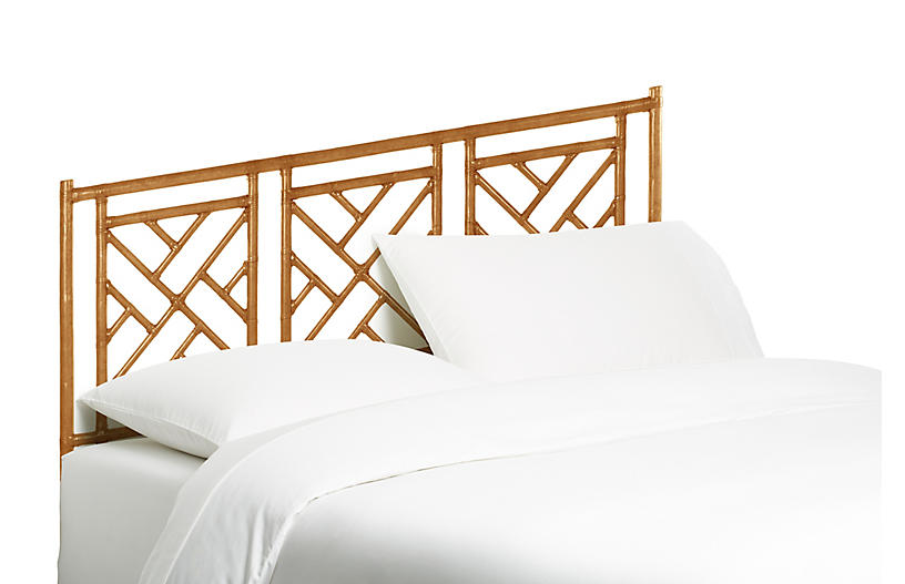 Chippendale Headboard, Camel Brown