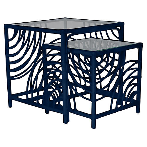 Swirl Nesting Tables, Navy