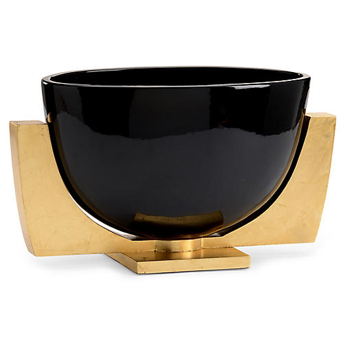 15' Lander Decorative Bowl w/ Stand, Black/Gold