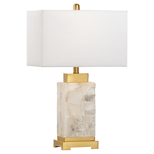 Park Place Alabaster Table Lamp, Natural/Brass