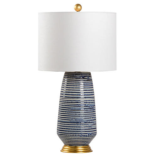 Hive Table Lamp, Blue/White Glaze
