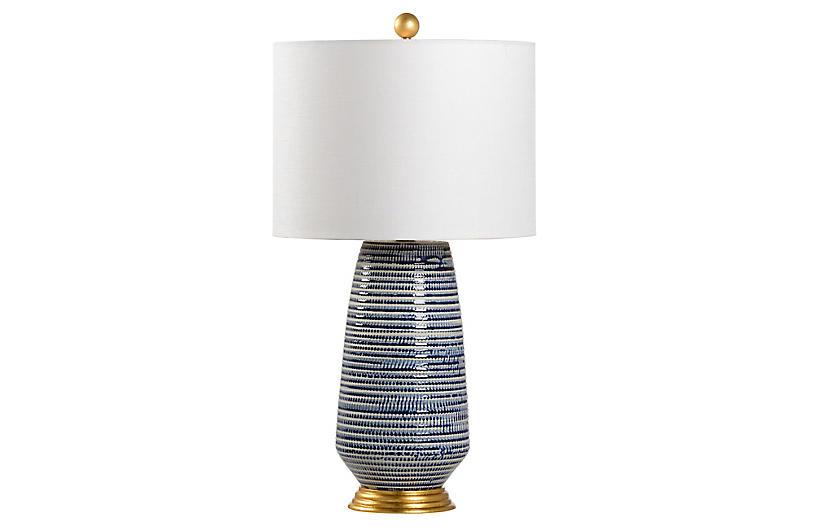 Hive Table Lamp, Blue/White Glaze
