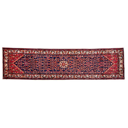 "3'6""x12'10"" Persian Hamadan Runner, Red/Navy"