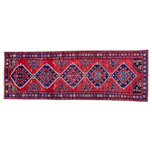 "3'5""x9'6"" Persian Hamadan Runner, Red/Plum"