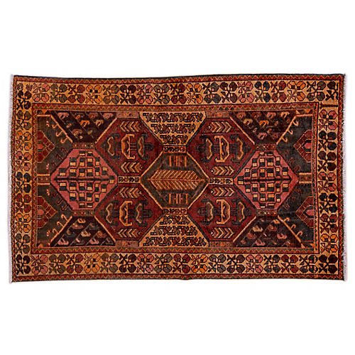 "4'1""x6'8"" Persian Hamadan Rug, Beige/Spice"
