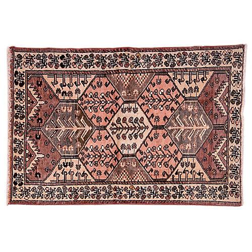 "4'4""x6'7"" Persian Hamadan Rug, Ivory/Taupe"